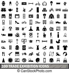 100 trade exhibition icons set, simple style - 100 trade...