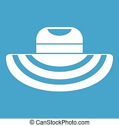 Women beach hat icon white isolated on blue background...