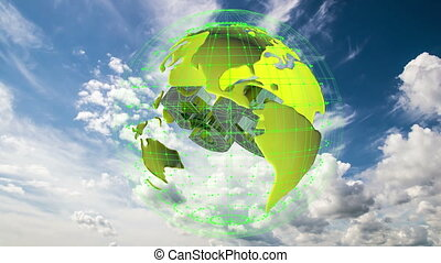 The 5g symbols rotate inside the earth model against the background of the cloud sky time-lapse, the video loop