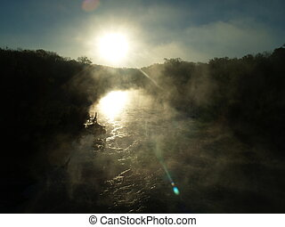 Fog on River 2 - Tranquil setting with sunlight and fog...