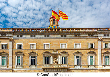 Catalan and Spain flags, Barcelona, Spain - The building of...