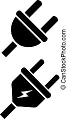 Electric plug vector icon on white background