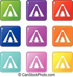 Tepee set 9 - Tepee icons of 9 color set isolated vector...