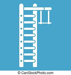 Swedish ladder icon white isolated on blue background vector...