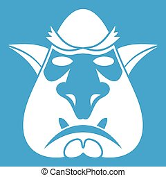 Head of troll icon white isolated on blue background vector...
