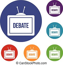 TV with the Debate inscription icons set