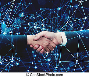 Concept of internet handshake over internet network -...