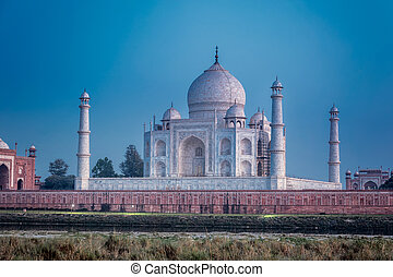 Agra Red Fort - Taj Mahal shot at sunset in the Indian city...