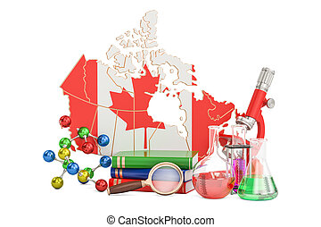 Scientific research in Canada concept, 3D rendering