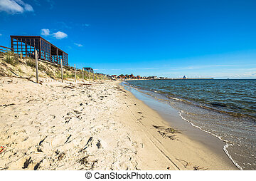 Resort town of Hel in Pomerania, Poland, promenade and beach...