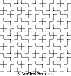 contorno, Cruces, patrón, Extracto,  seamless, Ilustración, Plano de fondo,  vector, negro, blanco, geométrico, mosaico