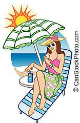 Sunscreen Protection - Illustration of a woman at the beach...