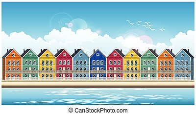 colorful townhouses - Stylized seamless horizontal vector...