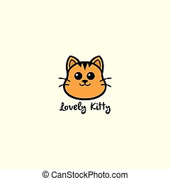 Lovely Kitty, Cute Cat Logo Vector Design Illustration...