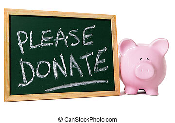 Charity donation box message, piggy bank with small blank blackboard, isolated on white background