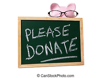 Charity donation box message, piggy bank wearing glasses, isolated on white background