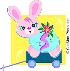 Happy Easter Bunny on a Cart