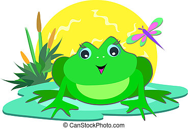Frog in the Sun - Here is a cute Frog on a pod with the...