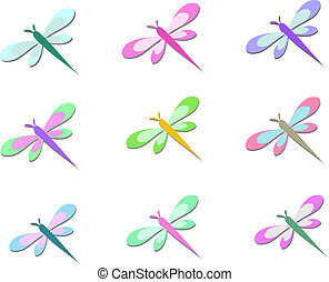 Mix of Colorful Dragonflies - Here is a handy group of...