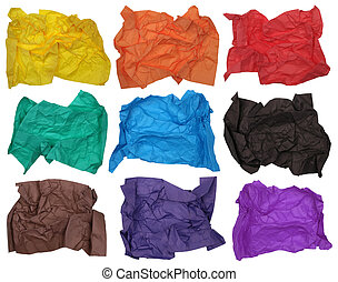 Nine crumpled sheets of color paper - Nine crumpled sheets...