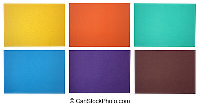 Six flat sheets of cheap friable color paper for origami or...
