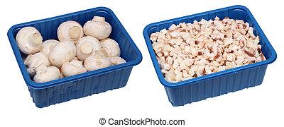 champignon mushrooms in containers