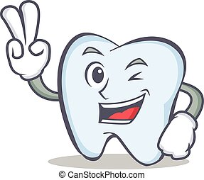 tooth character cartoon style with two finger