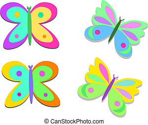 Mix of Colorful Butterflies - Here are four colorful...