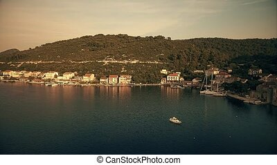 Harbor Polace on island Mljet - Copter aerial view of the...