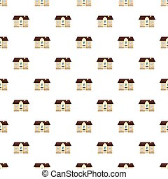 Two storey house pattern seamless repeat in cartoon style...