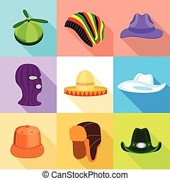 Summer and winter hat icons set, flat style - Summer and...