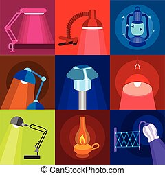 Different lamp icons set, flat style