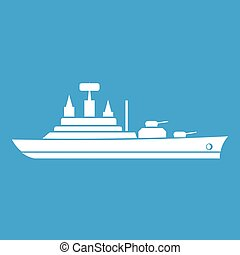 Warship icon white isolated on blue background vector...