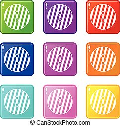Striped sewing button set 9 - Striped sewing button icons of...