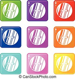 Round sewn button set 9 - Round sewn button icons of 9 color...