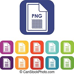 File PNG icons set vector illustration in flat style in...