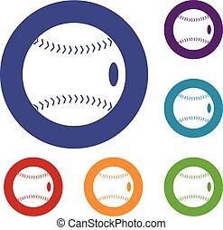 Baseball ball icons set