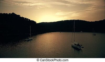 Sundown on island Mljet aerial - Copter aerial view of the...