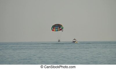 Paraplane. People fly by paragliding on the sea....