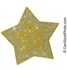 Christmas sparkly star - Glittery golden star, isolated on...