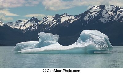 Ice floe floating in Argentino lake in El Calafate,...