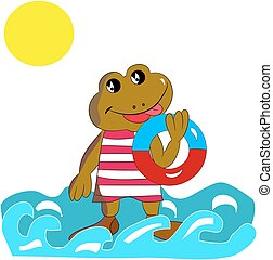 Cheerful brown frog with a bathing circle in his hand, on the sea, cartoon on a white background.