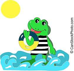 Cheerful green frog with a bathing circle in his hand, on the sea, cartoon on a white background.