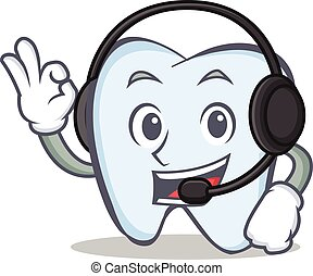 tooth character cartoon style with headphone