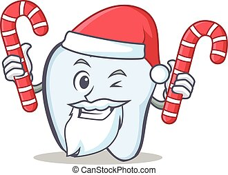 Santa tooth character cartoon style with candy