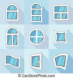 Plastic windows icons set, flat style