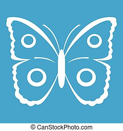 Butterfly peacock eye icon white isolated on blue background...
