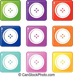Round sewing button set 9 - Round sewing button icons of 9...