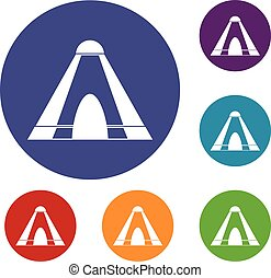 Tepee icons set in flat circle red, blue and green color for...