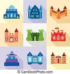 Bastion icons set, flat style - Bastion icons set. Flat set...